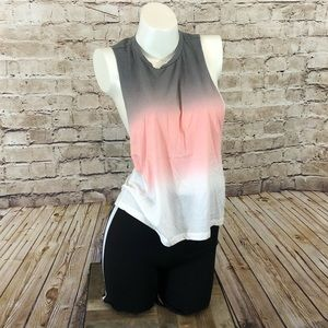 NWT Gray pink white ombré large arm hole tank S